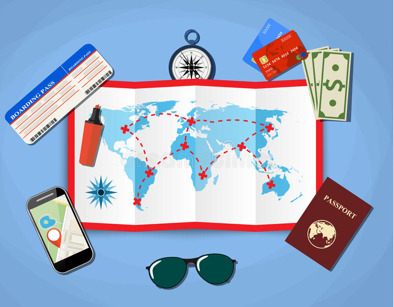 Paper map of world. Passport, airplane ticket, smartphone with navigation application, money . vector illustration in flat design on blue background vector illustration