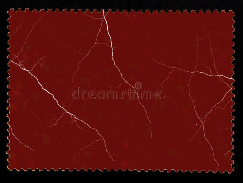 Paper marbled effect grumge postage stamp reverse side  on black background. royalty free stock photography