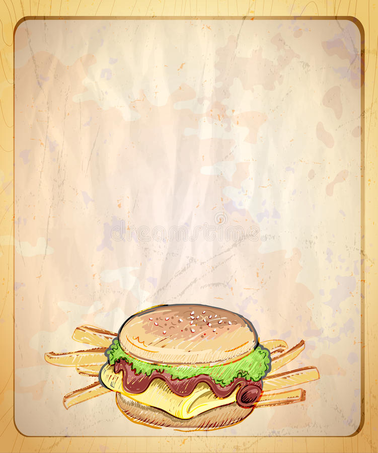 Paper menu list with empty place for text and illustration of burger and fries. vector illustration