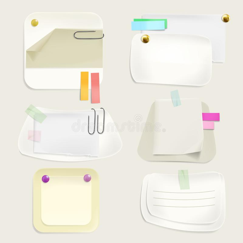 Paper message notes on clips vector illustration stock illustration