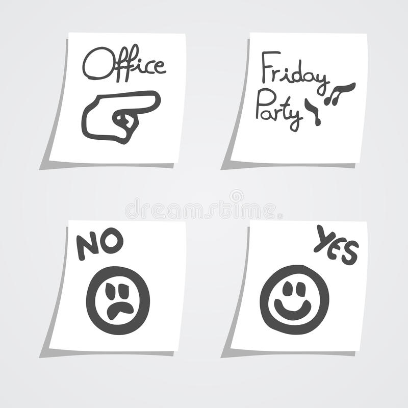 Paper messages. Creative design of four paper messages royalty free illustration