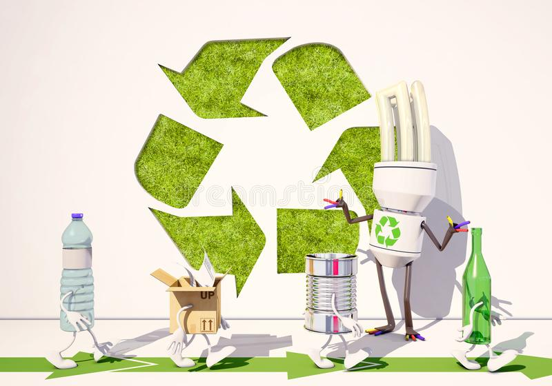 Paper, metallic, bottle and plastic characters go for recycling stock illustration