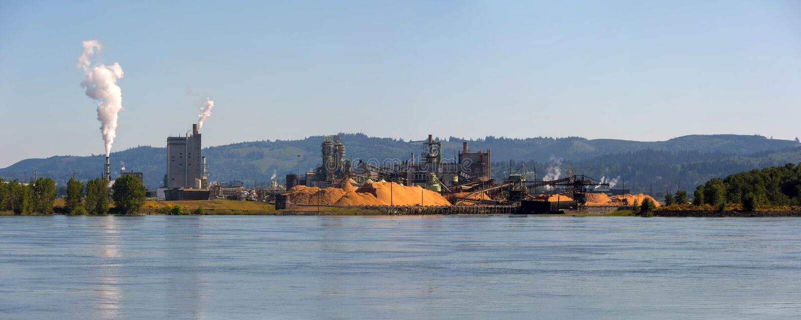 Paper Mill Along Columbia River Panorama in WA state. Pulp and Paper Mill along Columbia River in Longview Washington State Panorama stock photography