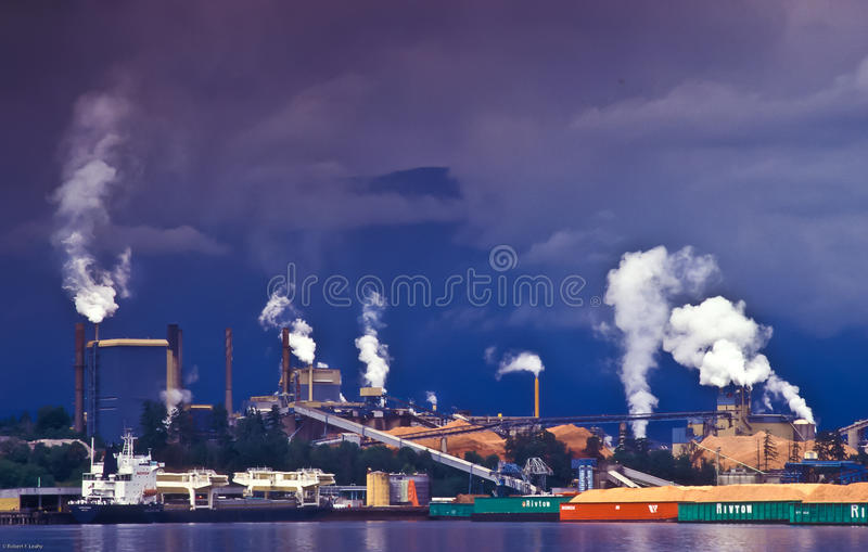 Paper Mill Polution royalty free stock images