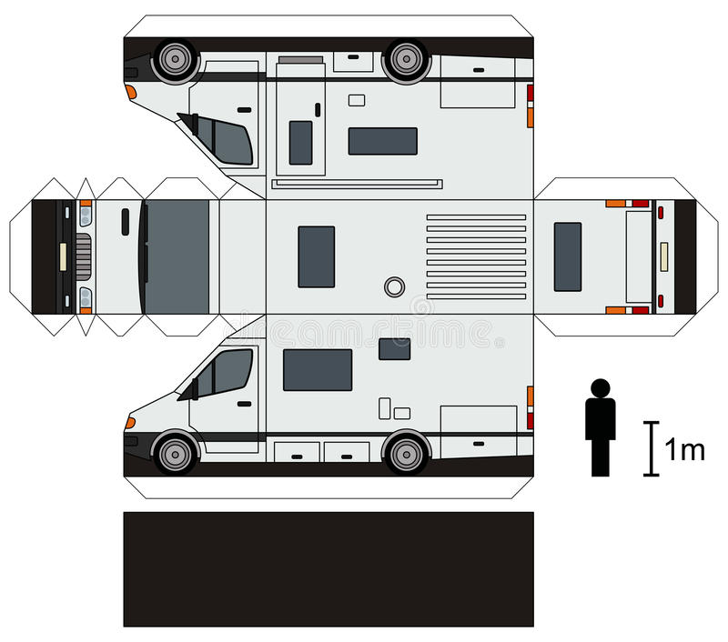 Paper Model Of A Caravan Stock Vector. Illustration Of