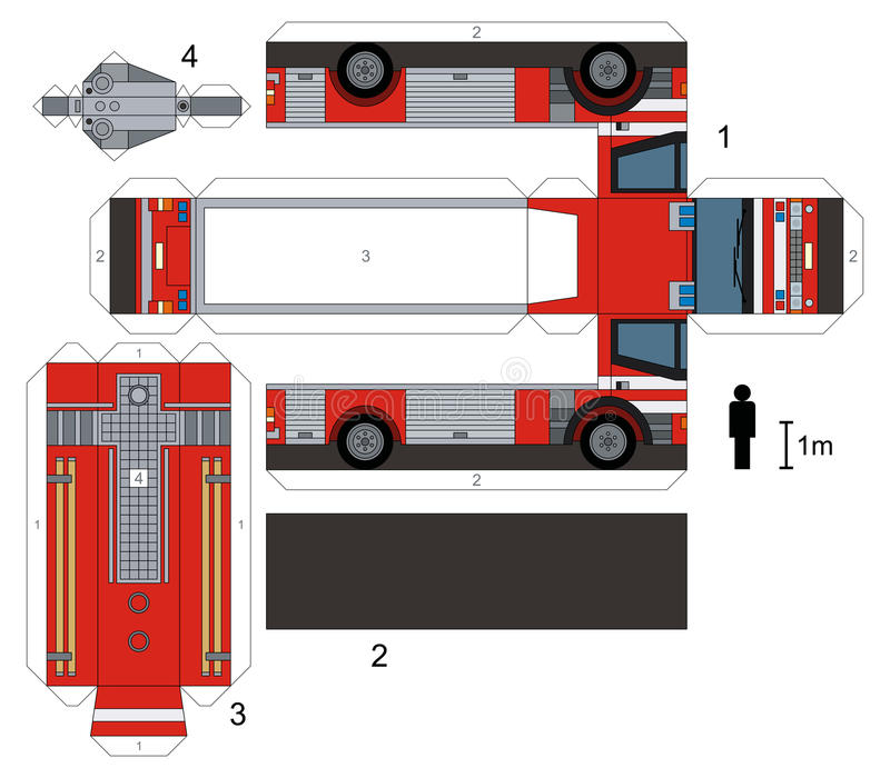 Paper Model Of A Fire Truck Stock Vector