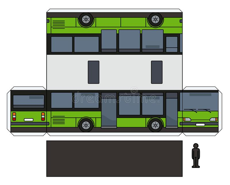 The paper model of a green bus vector illustration