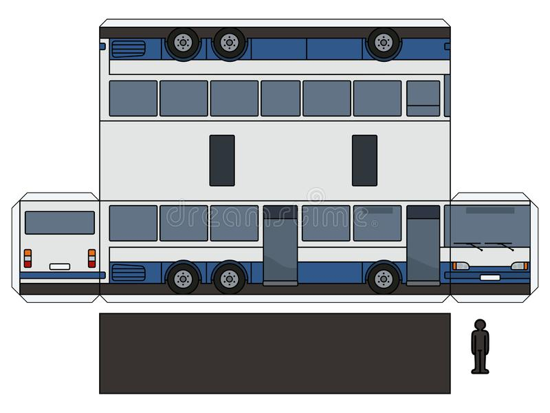 The paper model of a long bus. The simple vector paper model of a blue and white long bus stock illustration
