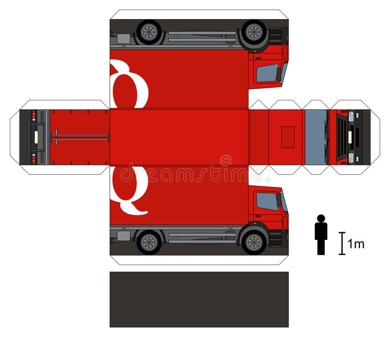 Paper model of a red truck stock image