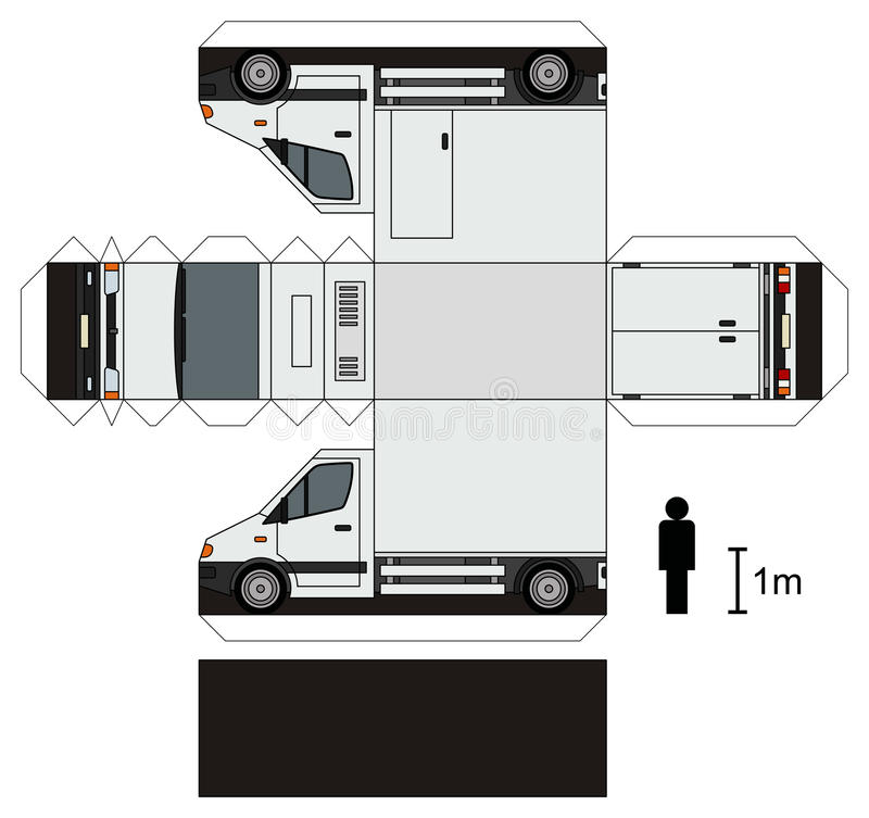 Paper Model Of A Small Truck Stock Vector