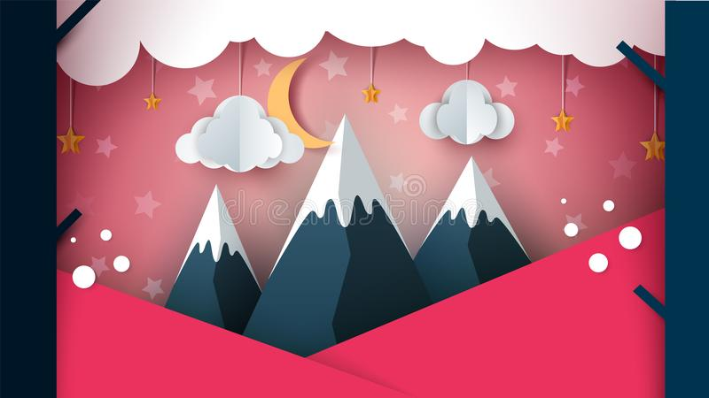 Paper mountain - cartoon landscape. Cloud, moon, mountain, tree. royalty free illustration