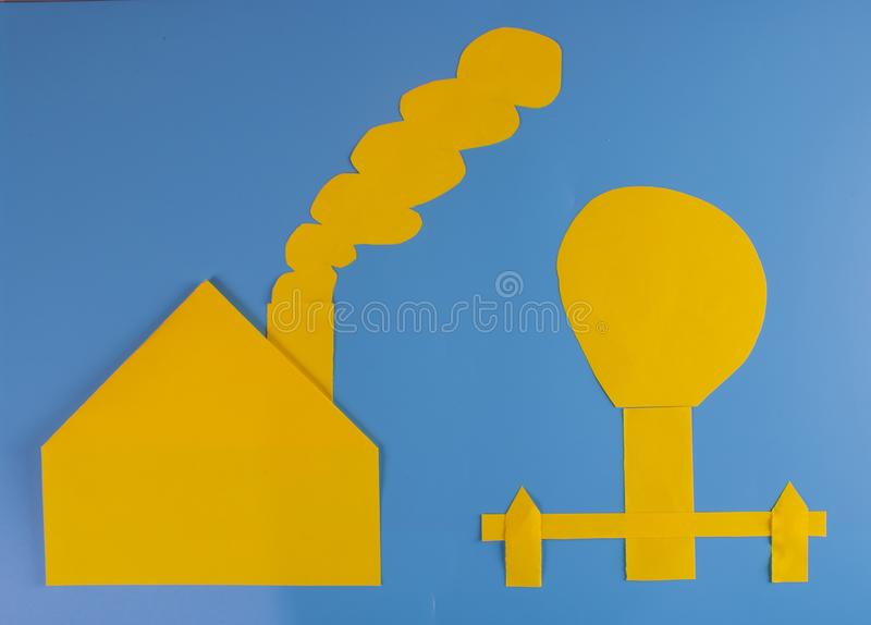 Paper mural on blue background royalty free stock image
