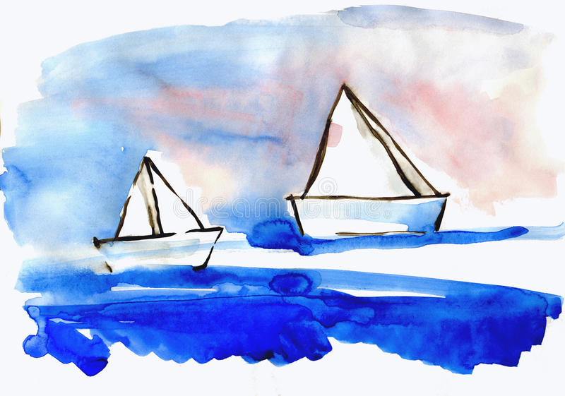 Paper naves on water. Drawn by watercolors, on white background stock illustration