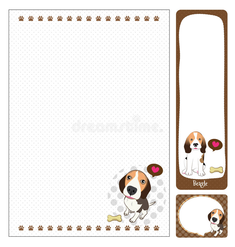 Paper note beagle. Cartoon on brown and white background stock illustration