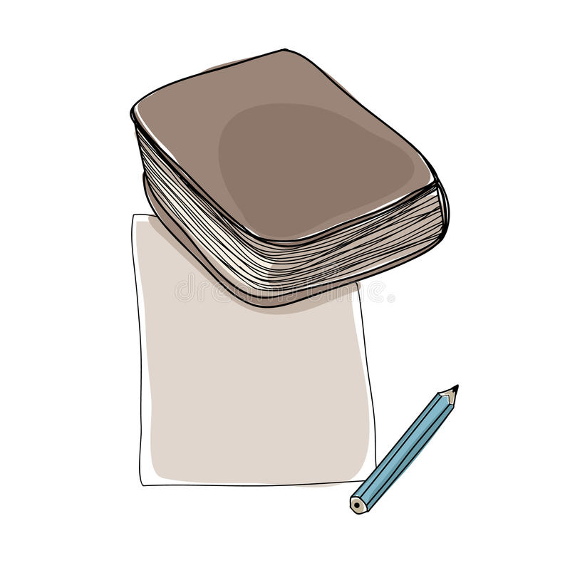 Paper note and book hand drawn cute art illustration royalty free illustration