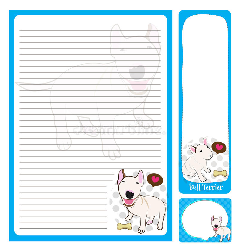 Paper note_bull terrier. Paper note bull terrier cartoon on blue and white background stock illustration