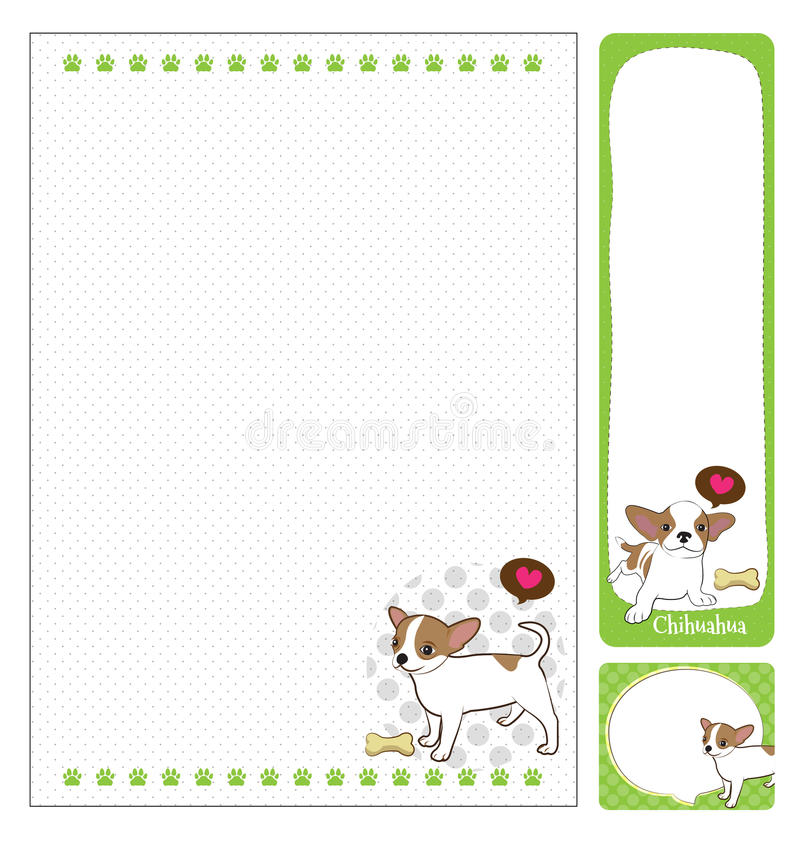 Paper note chihuahua. Cartoon on green and white background royalty free illustration