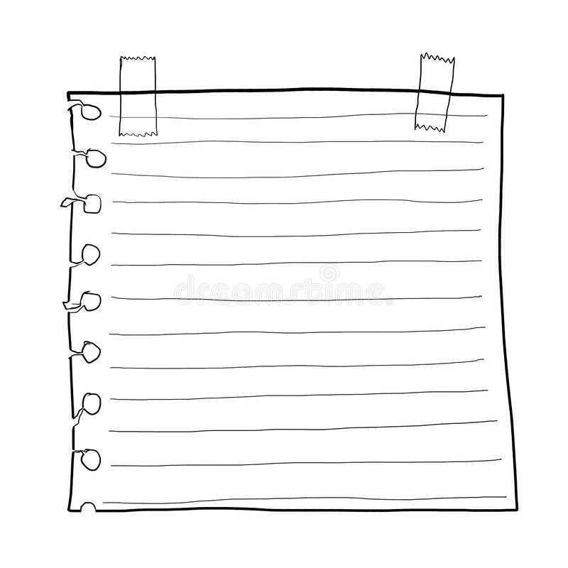 Paper note and Masking Tape cute line art royalty free illustration