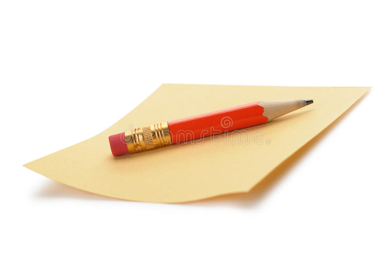 Paper Note And A Red Pencil Royalty Free Stock Photography