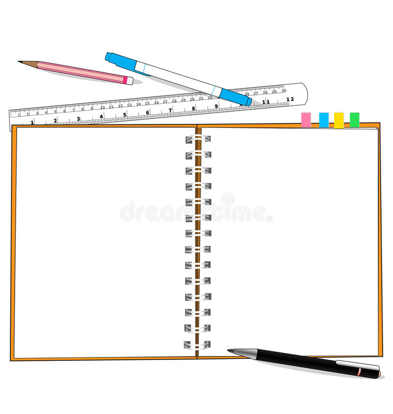 Paper note and stationery. Paper and object on white background vector illustration