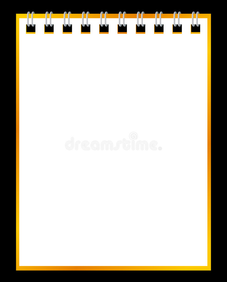 Paper notebook on black background stock illustration