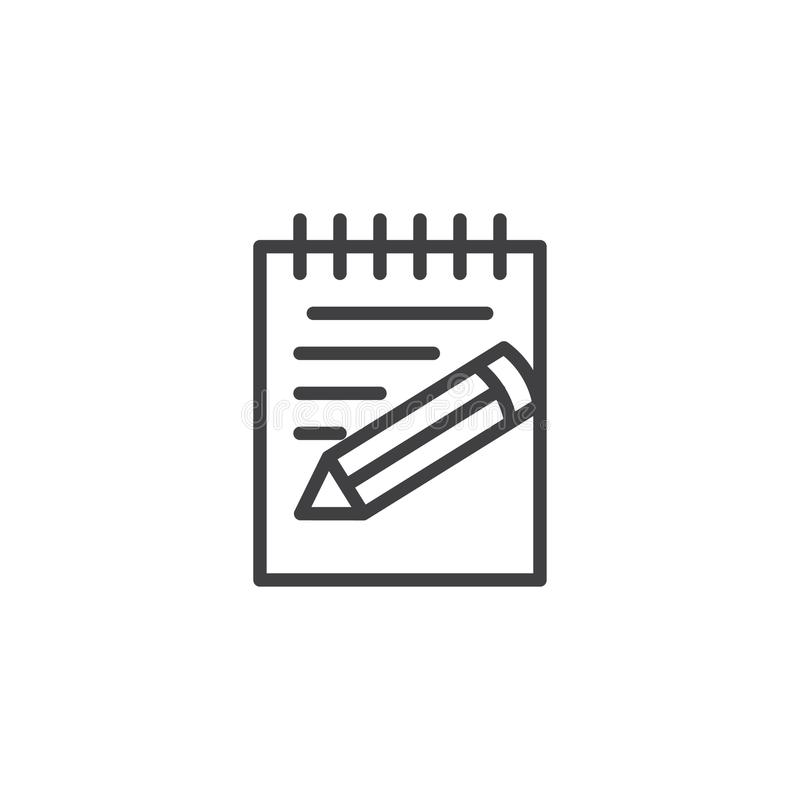 Paper, notebook, notepad pencil line icon royalty free illustration