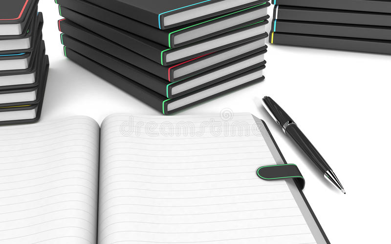 Paper notebook and pen. Close up view of a paper notebook with blank pages, a pen, some stacks of paper notebooks on white background (3d render vector illustration