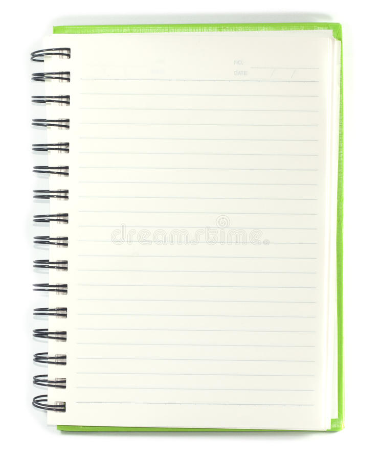 Paper notebook right page with pencil on white background royalty free stock photo