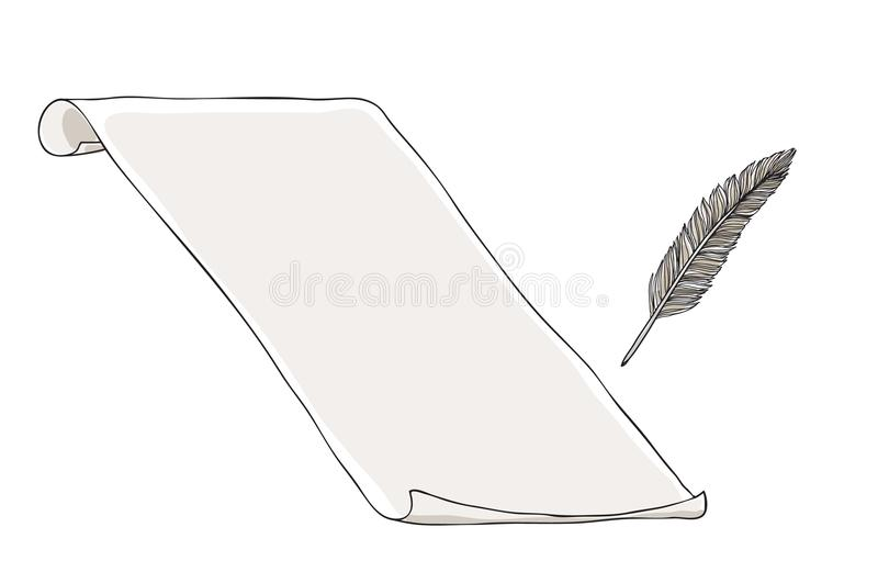 Paper notebook vintage and feather pen hand drawn vector art. Illustration stock illustration