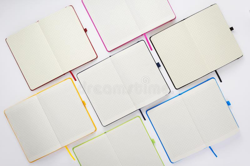 Paper notebook at white background stock photography