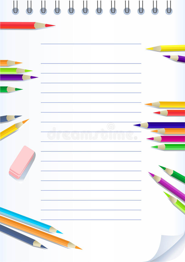 Free Paper Notebook With Color Pencils Royalty Free Stock Photography - 10606177