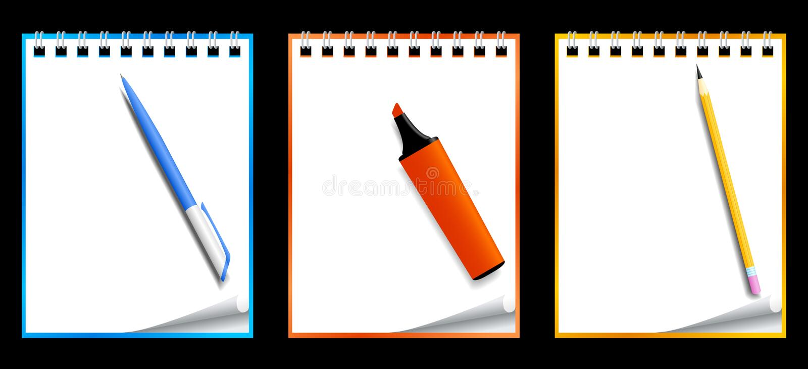 Paper notebooks with stationery vector illustration