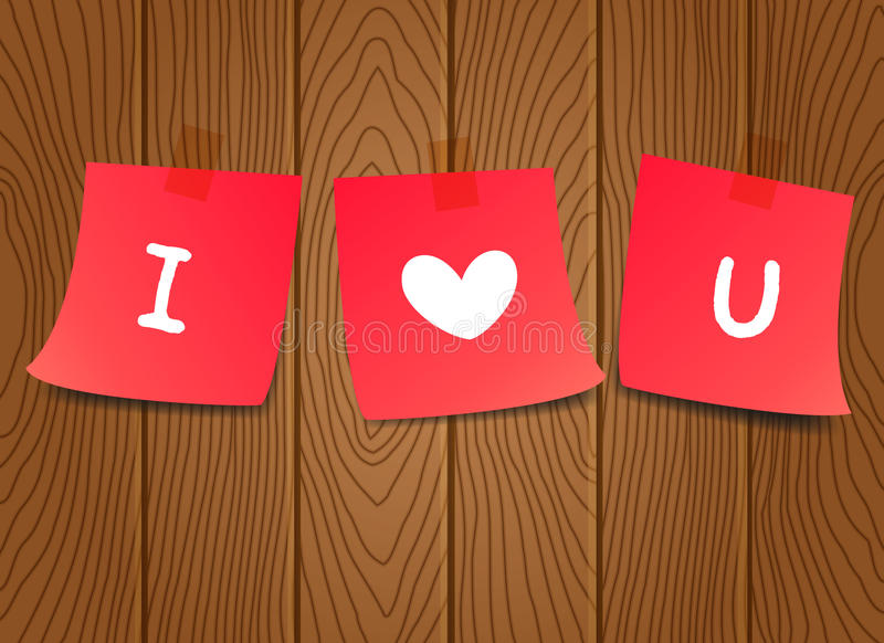 Paper notes with letter I love you on wooden background. Valentine's paper notes. stock illustration