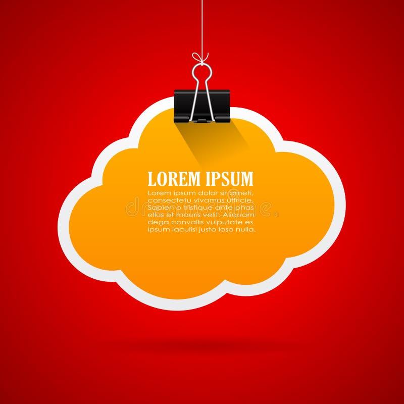 Paper notice cloud. Vector illustration stock illustration