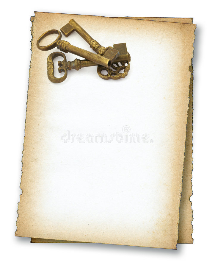Download Paper with old keys stock image. Image of front, decorative - 4742211