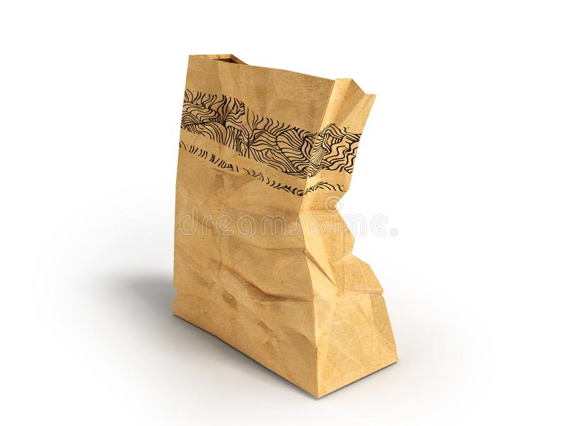 Paper one big packet behind 3d rendering on white background with shadow. Heavy paper bags of coated paper are suitable for packaging various purchases in stores royalty free illustration