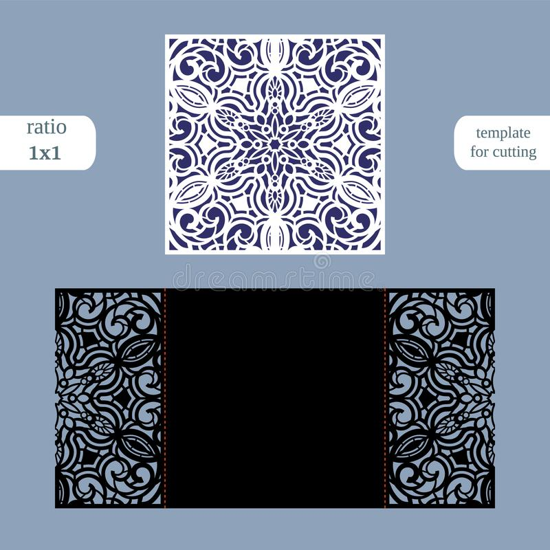 Paper openwork square greeting card, wedding invitation, template for cutting, lace imitation, cut on plotter, metal plate cut b. Y laser, vector illustration vector illustration