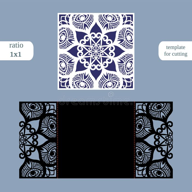 Paper openwork square greeting card, wedding invitation, template for cutting, lace imitation, cut on plotter, metal plate cut b. Y laser, vector illustration stock illustration