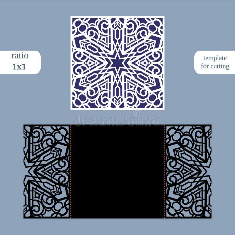 Paper openwork square greeting card, wedding invitation, template for cutting, lace imitation, cut on plotter, metal plate cut b. Y laser, vector illustration royalty free illustration