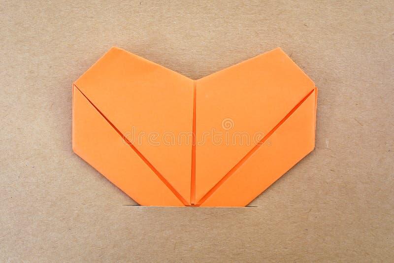 Paper orange heart royalty free stock photo