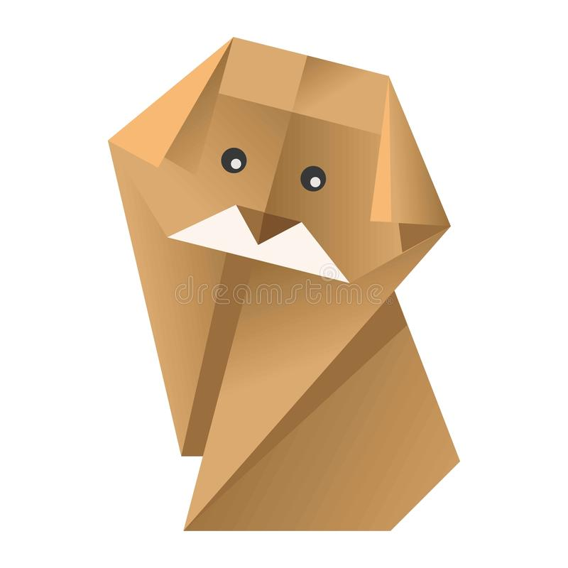 Paper origami colorful dog with black eyes isolated on white. Vector flat illustration. Yellow domestic animal made of cardboard. Human craftsmanship figure for stock illustration