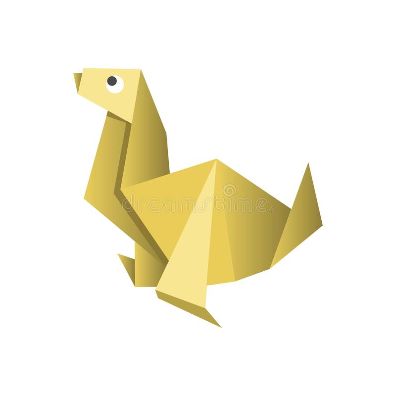 Paper origami dog isolated on white vector picture. Paper origami colorful dog isolated on white vector flat illustration. Yellow domestic animal made of royalty free illustration