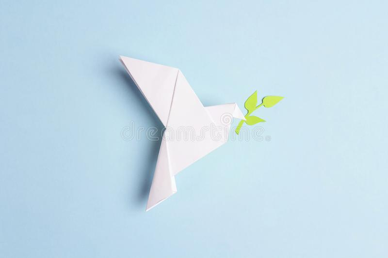 Paper origami dove of peace with olive branch on a blue background stock image