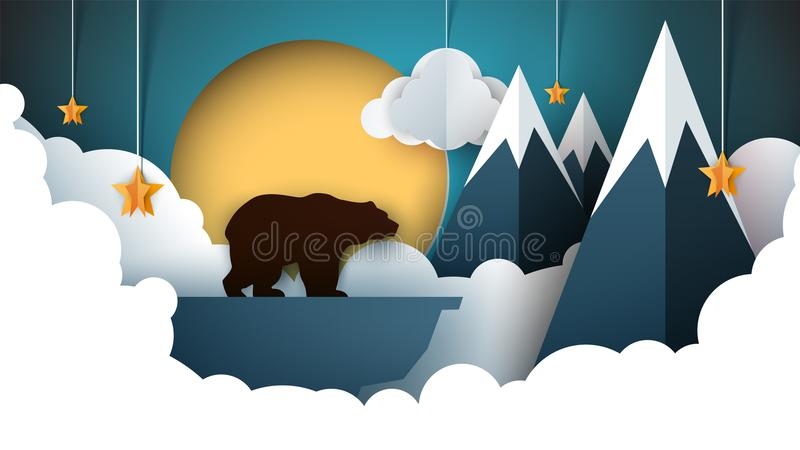 Paper origami landscape. Mountain, bear, animals, sun, vector illustration
