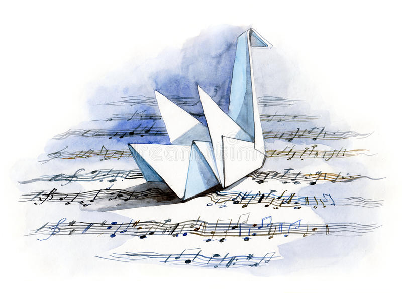 Paper origami painting. Painting of paper origami swan floating the music lake stock illustration