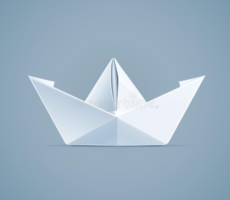 Paper origami ship. Handmade toy vector illustration