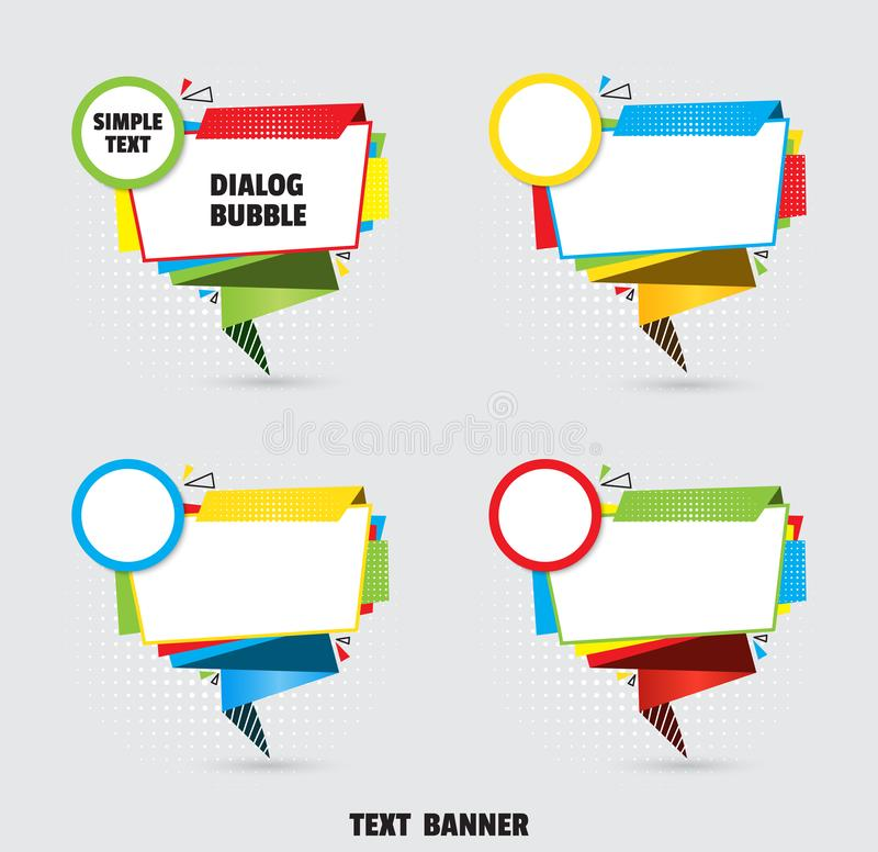 Paper origami speech bubble for design of advertisement label, sticker. Dialogue banner for your message royalty free illustration