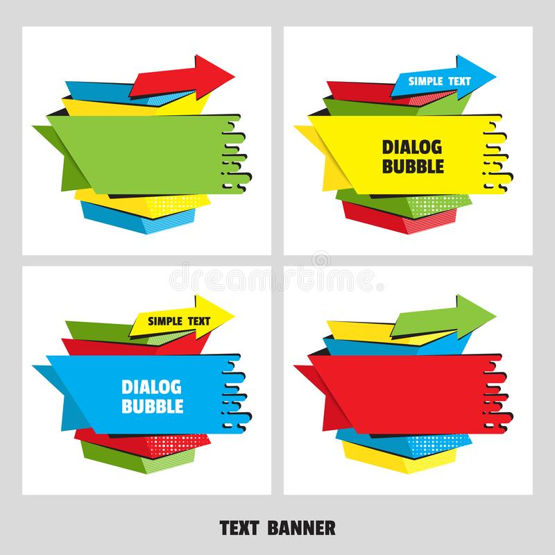 Paper origami speech bubble for design of advertisement label, sticker. Flat style. Dialogue banner for message stock illustration