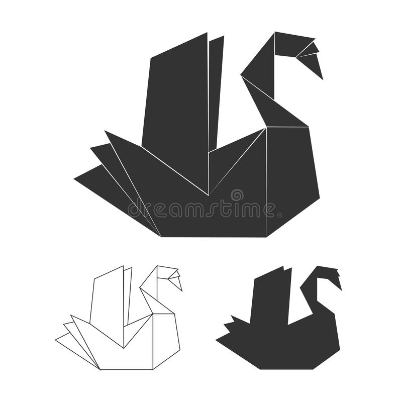 Download Paper Origami Vector Swan On White Background Black Logo Set Stock Illustration