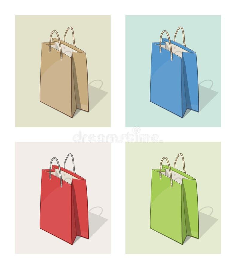 Paper påse för shopping vektor illustrationer